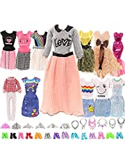 Miunana 27 För Barbie 11,5Tum 28-30 cm Docka: 5 Kostymkläder + 10 St skor + 6 Kronor + 6 Halsband (Slumpmässigt Valt)