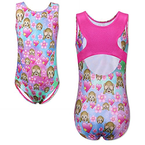 TFJH E Kids Leotards for Gymnastics One-piece Shiny Apparel Athletic Leotard for Girls Adorable Yellow Pink Flower,Monkey 6A