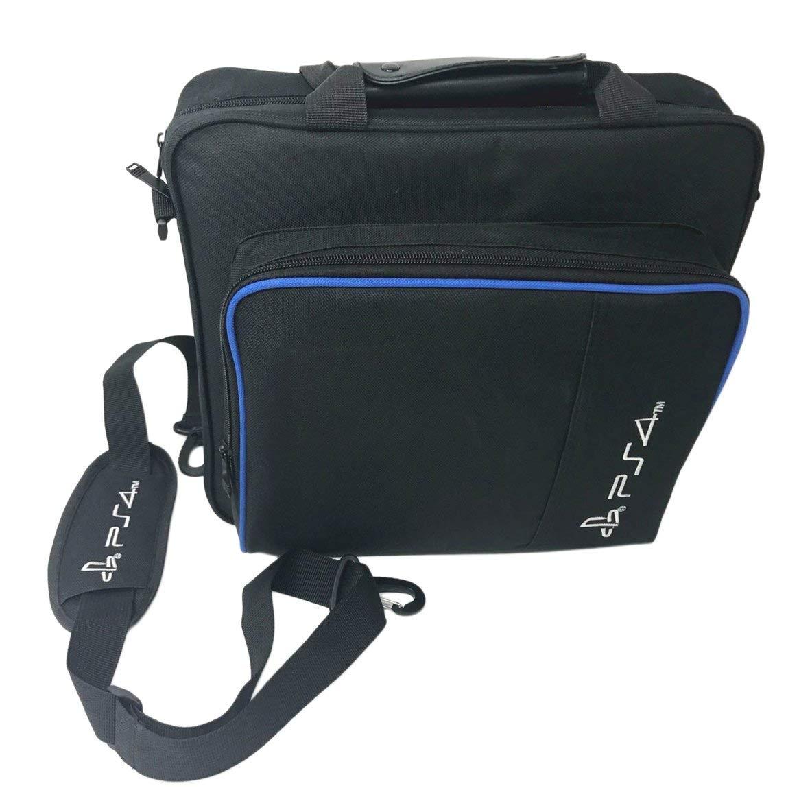 Bolsa de almacenamiento para consola de juegos Bolsa de viaje impermeable a prueba de golpes Bolso bandolera para accesorios de consola PS4 Pro Bolsa de transporte - Negro Delicacydex