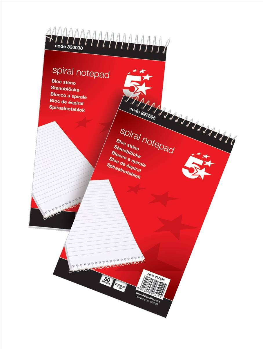 5 Star Spiral Notepad Headbound Ruled 160 Pages 125x200mm Pack 10