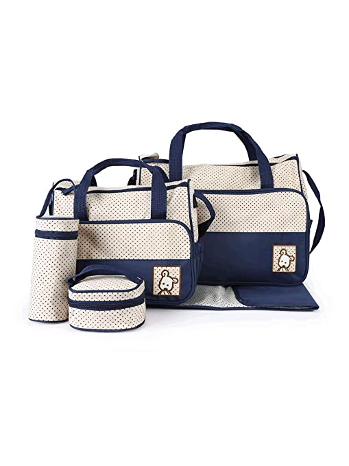 Multifunctional Mummy Diaper Travel Baby Bag 5in1 Set (Dark Blue)
