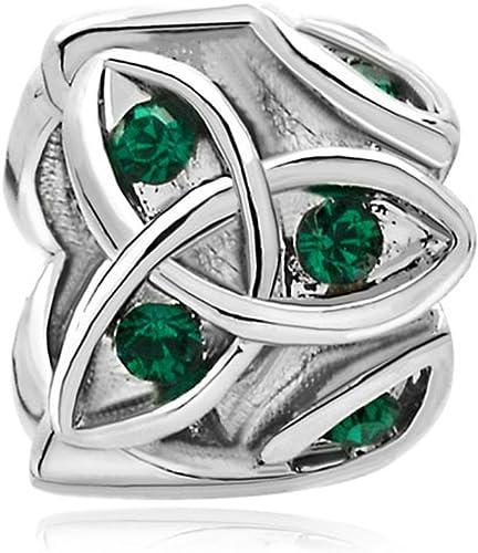 Q/&Locket Jan-Dec Birthstone Charms Trinity Ring Birthday Charm Beads for Bracelets