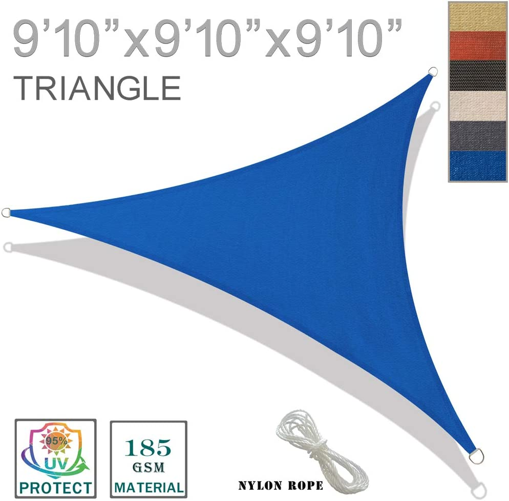 SUNNY GUARD 9 10 x 9 10 x 9 10 Blue Triangle Sun Shade Sail UV Block for Outdoor Patio Garden