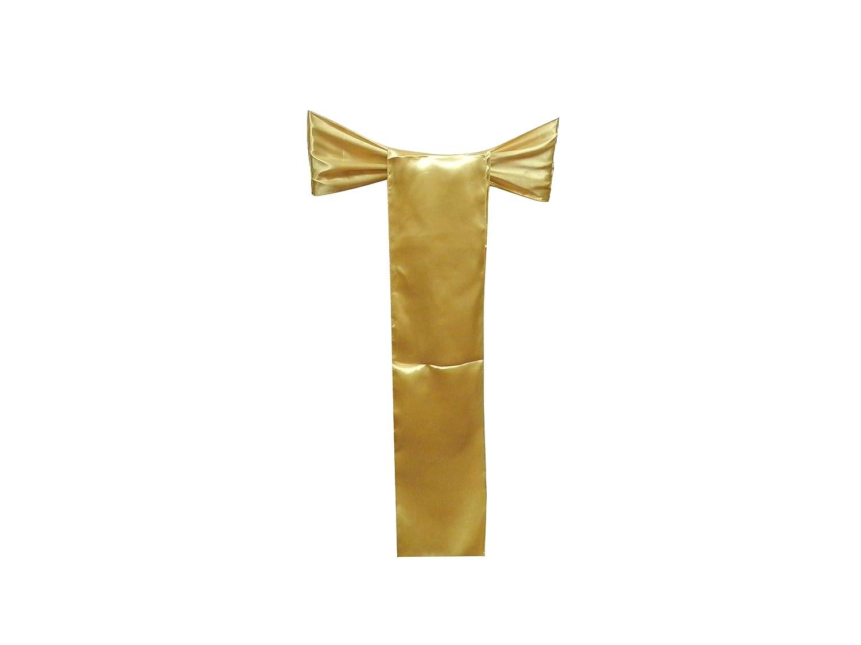 GOLD-60 Pack of 60,Gold Elina Fashion SATIN-CHAIR Elina Home Satin 6 x 108 Chair Bow Sash Wedding Banquet Kitchen Decoration