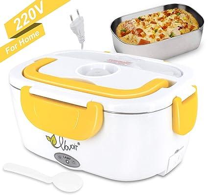 Fiambrera eléctrica comida térmico Lunch Box Fiambreras bento con Bandeja extraíble acero inoxidable Recipiente de comida térmico 220V (amarillo, 220V ...