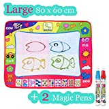 Large Doodle Mat, Large Magic Water Drawing Painting Writing Mat Pad Board, 2 Pen Develop Intelligence Sketch Learning Toy Gift for Boys Girls Toddlers Kids Children 4 Color