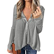 Iussurin Women's Long Sleeve Tops Waffle Knit Henley Shirts Casual Tunic Button Down Sexy V Neck Blouses Loose Fitting