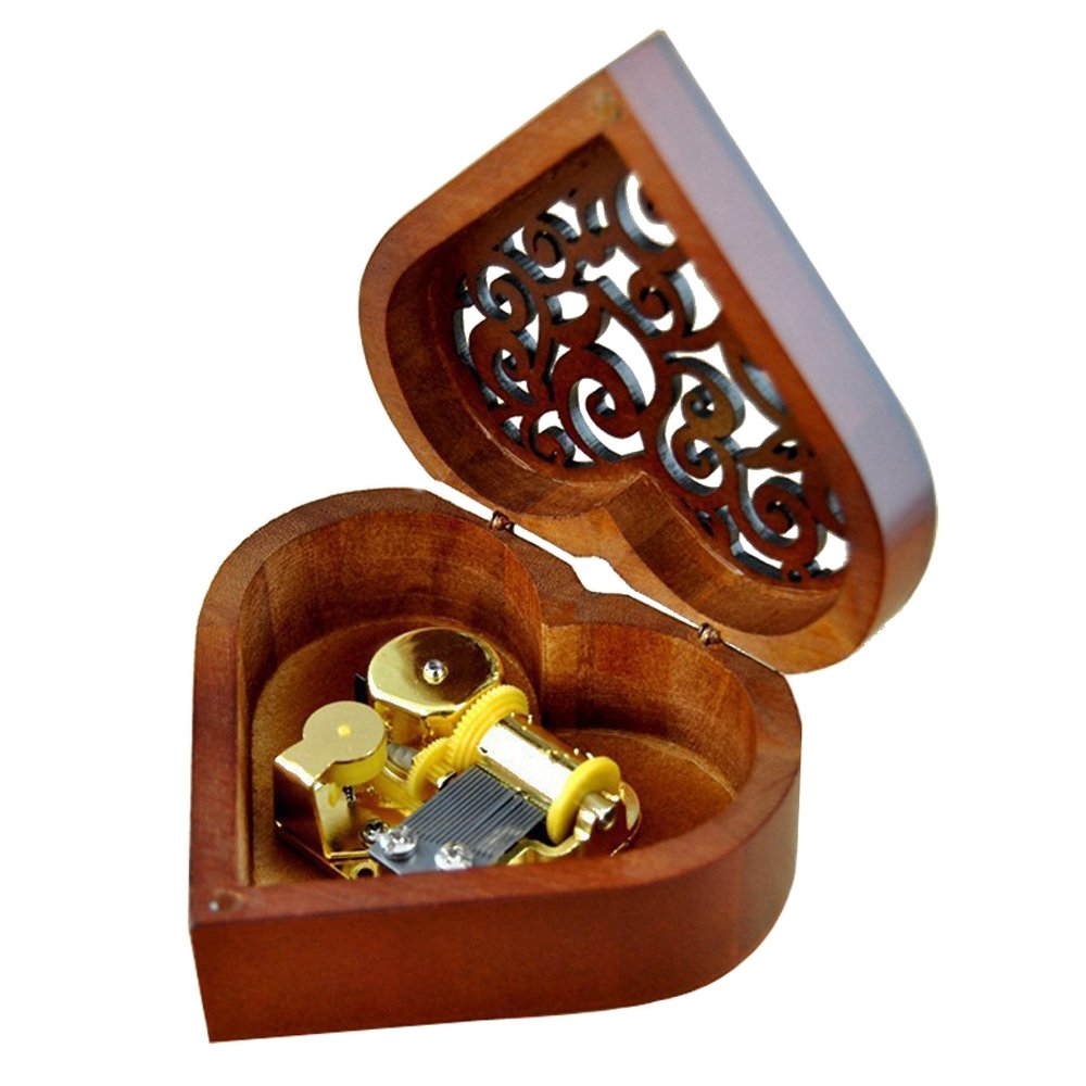 Antique Engraved Wooden Wind-Up Musical Box,You Are My Sunshine Musical Box,with Gold-plating Movement in,Heart-shaped
