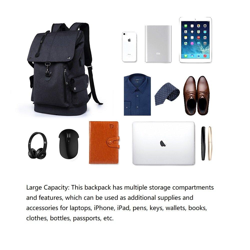 Business Laptop Backpack, Slim Anti Theft Computer Bag, Water-resistent College School Backpack, Eco-friendly Travel Shoulder Bag / USB Charging Port Fits UNDER 15.6 Inch Laptop & Notebook (Black) by damo (Image #3)