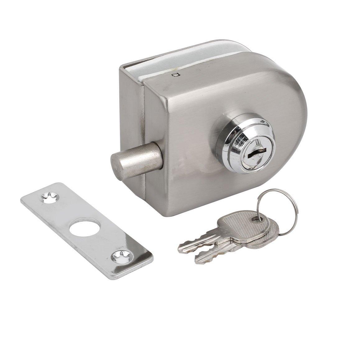 sourcing map Conjunto de cerradura de puerta de 10mm-12mm de grosor de cristal de forma ovalada de acero inoxidable