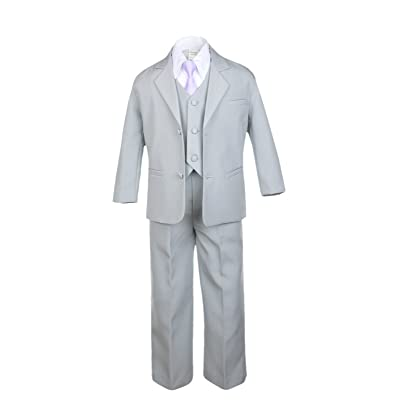 Unotux 6pc Boy Gray Vest Set Suits with Satin Lilac Necktie Outfits Baby to Teen