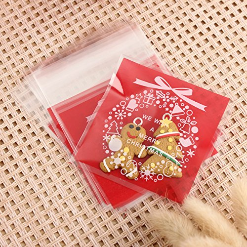 RoseBlue by Risa 100PC Self Adhesive Christmas Cookie Bags Cellophane Candy Gift Pouch