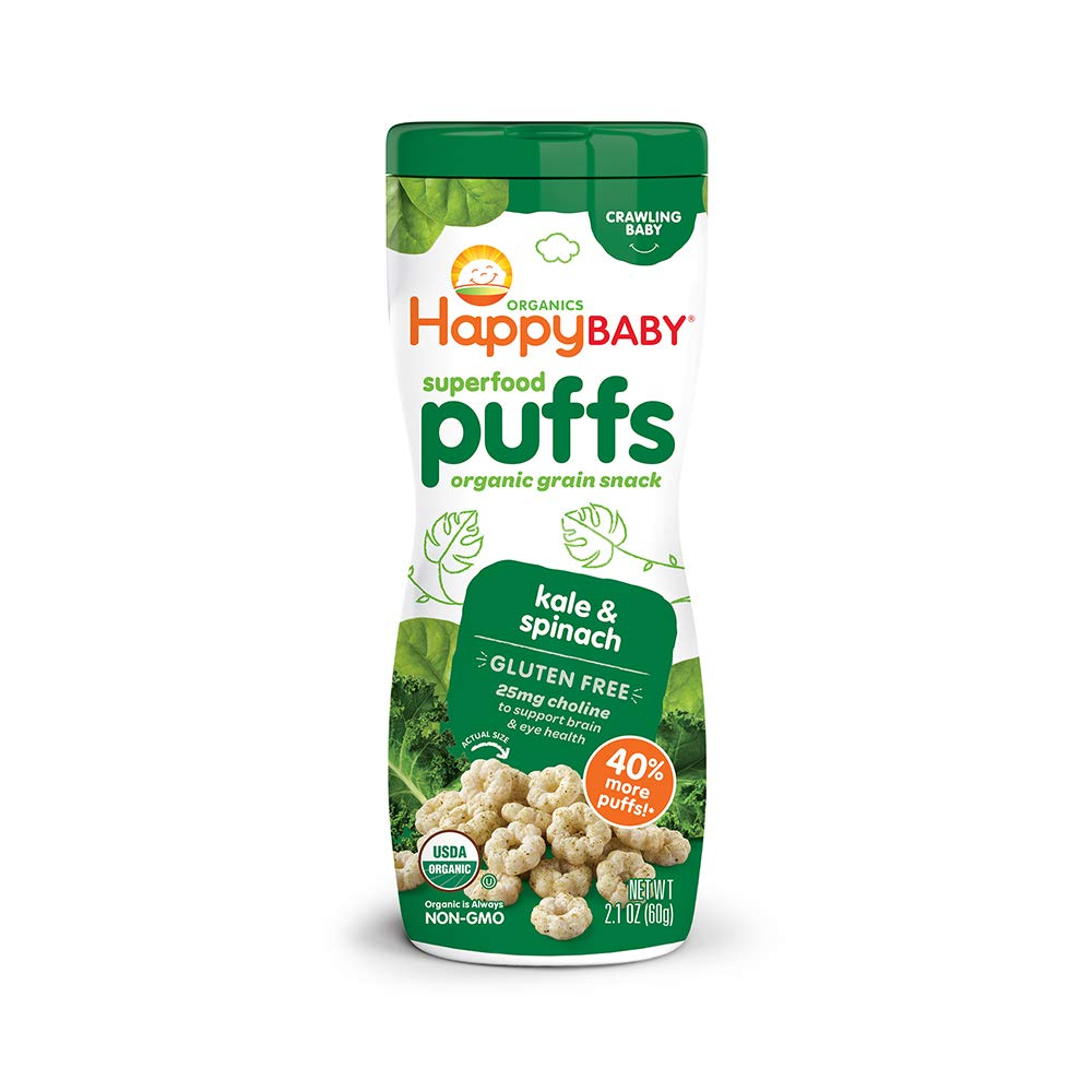 Happy Baby Organic Superfood Puffs, Kale & Spinach, 2.1 Ounce