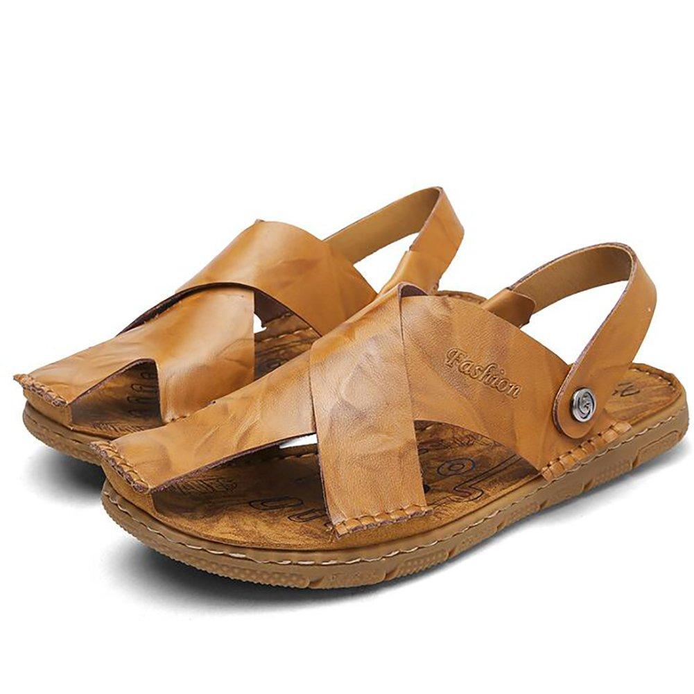 ZJM- Summer Man Slipper Sandal Beach Shoes cerrado-Toe diseñado cuero genuino suave antideslizante pescador zapatos Vintage (Color : Amarillo, Tamaño : 41) 41|Amarillo