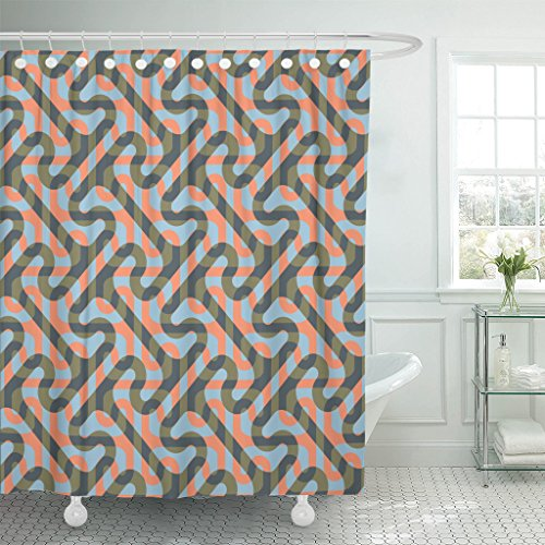 TOMPOP Shower Curtain Greek Modified Cross Tee Pattern Key Waterproof Polyester Fabric 60 x 72 Inches Set with Hooks