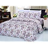 Bamboo Living Eco Friendly Egyptian Comfort Bedding 6 Piece Sheet Set (w/4 Pillowcases) (Heavy Floral, Queen)