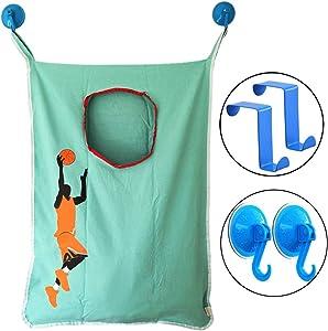 HAMRAY Space Saving Door Hanging Laundry Hamper Bag Over Door in Basketball Hoop with Free Door Hooks Fit for Bathroom Bedroom Closet Toilet Hotel Travel - 5 Piece Pack