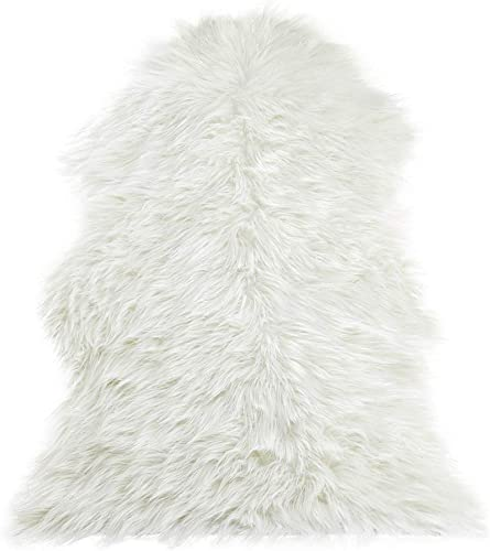 Tiffasea Faux Fur Sheepskin Rugs for Bedroom, 2×3 Fluffy Small Area Rug Mixed Sequins Throw Rugs Floor Carpets Fuzzy Chair Couch Cover for Kids Playroom Living Room, Sequins White