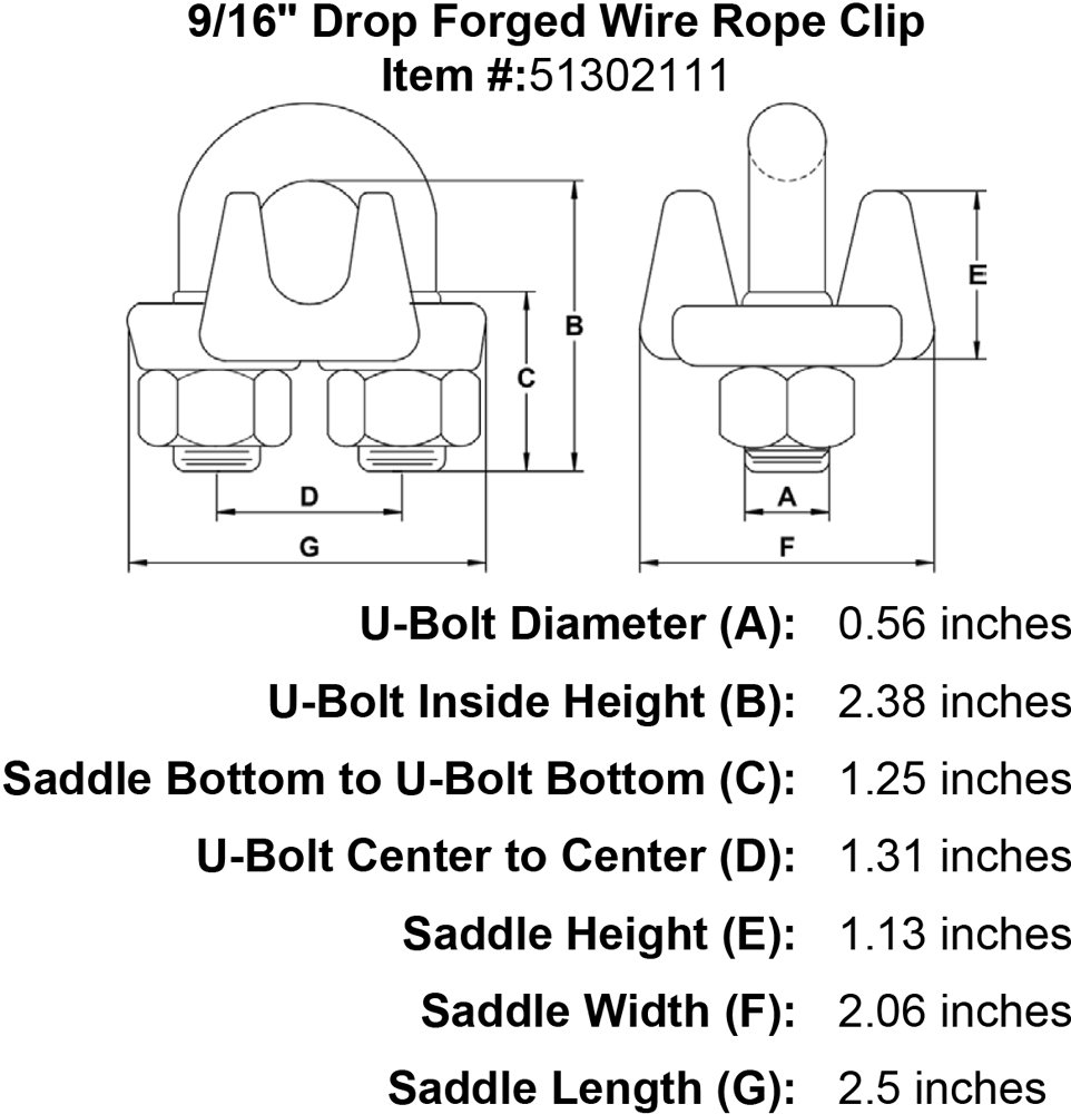 9//16 Drop Forged Wire Rope Clip