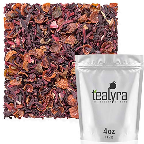 (Tealyra - Hibiscus and Rosehips - Herbla Loose Leaf Tea - Health Tonic - Natural Weight Loss - Supports Healthy Blood Pressure - Caffeine-Free - Vitamins Rich - All Natural - 112g (4-ounce))
