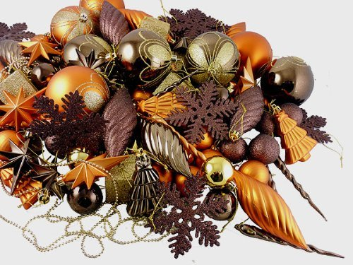 125-Piece Club Pack of Shatterproof Brown Copper Gold Tone Christmas Ornaments by Vickerman
