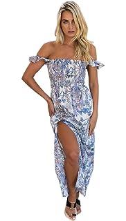 bbf5d7f6df FFLMYUHULIU Women's Summer Boho Off The Shoulder Long Maxi Casual Dresses  Split
