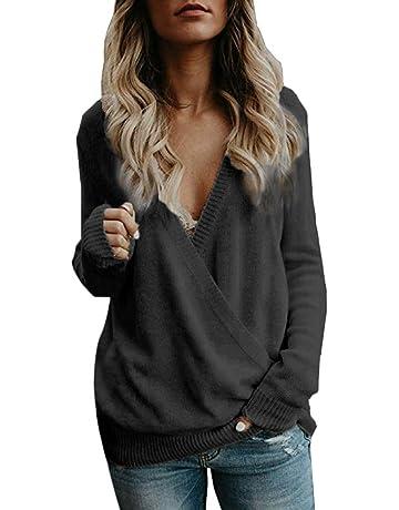 Suéteres Mujer Invierno Jersey de Punto Cuello en V Color Sólido Manga  Larga Suéter para OtoñO 04fb34f4c2ef