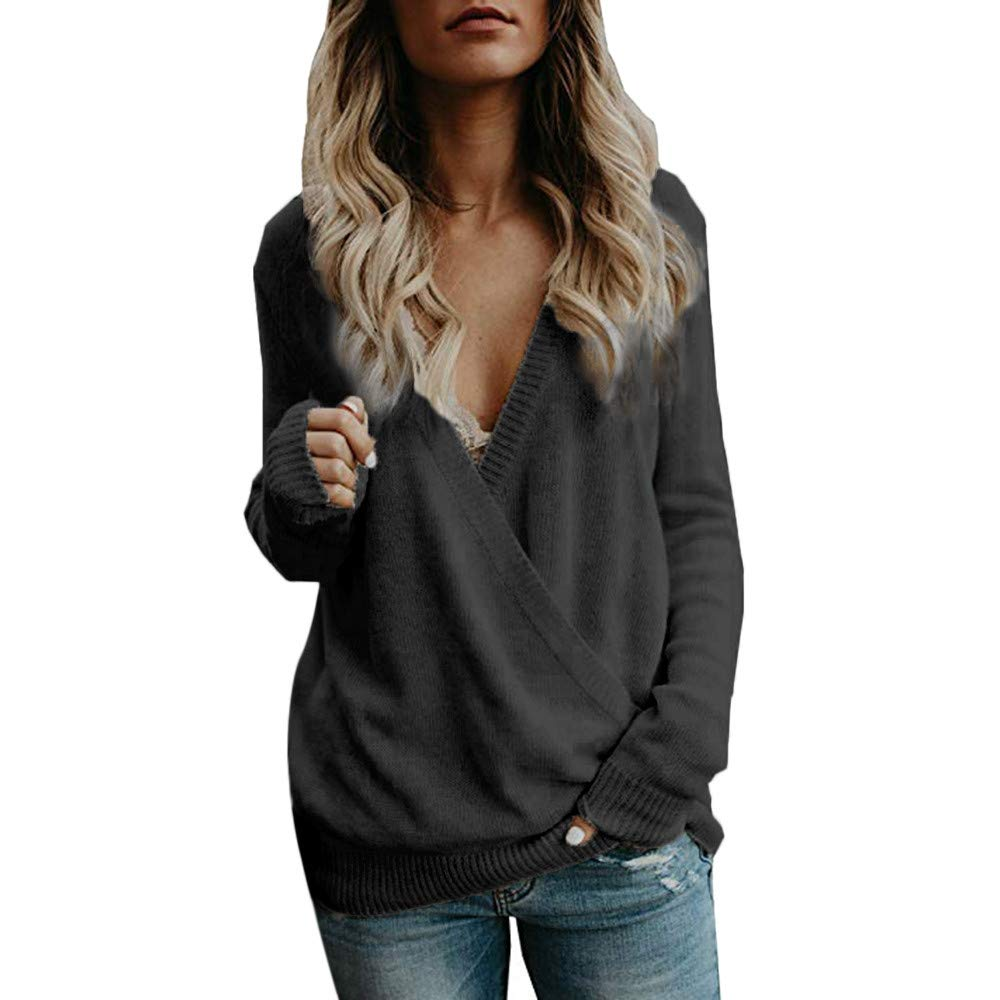 Gallity Women's Sweater Pullover Knitted Deep V-Neck Long Sleeve Wrap Front Loose Jumper Tops (S, Black)