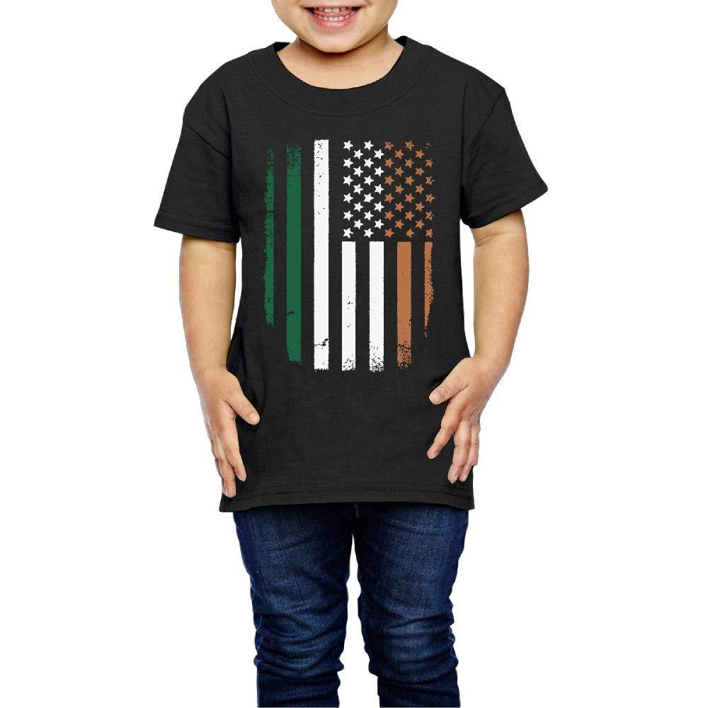 XYMYFC-E Irish American Flag 2-6 Years Old Children Short-Sleeved T Shirt