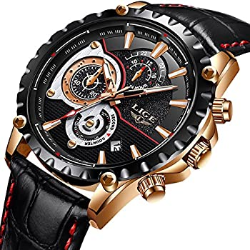 Watches Men Bussiness Fashion Leather Strap Waterproof Sport Watch Gents Chronograph Date Calendar LIGE Top Brand Luxury Analogue Quartz Wrist Watch Black