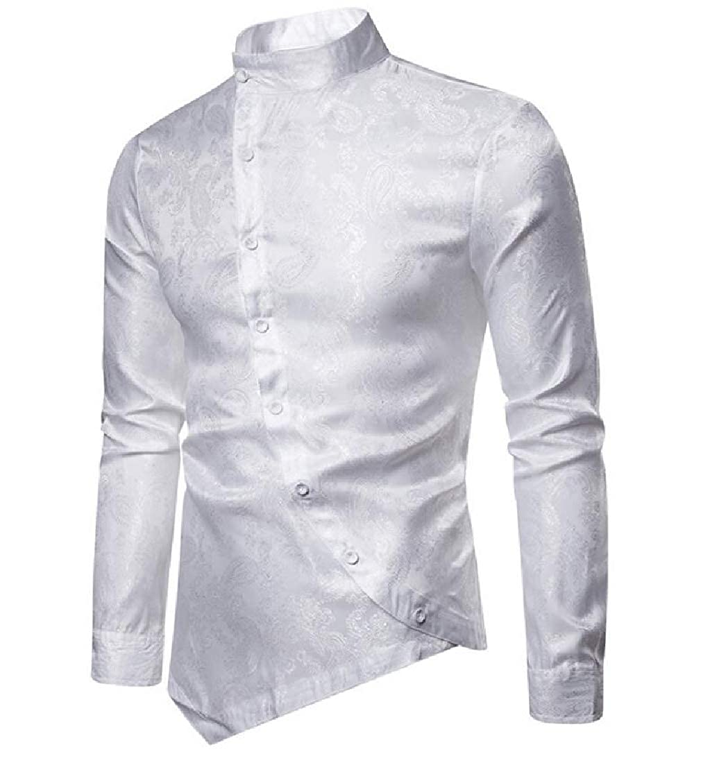 YIhujiuben Mens Summer Long Sleeve Gold Rose Printed Dress Shirts Prom Performing Shirts