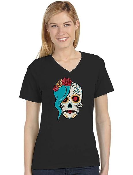b3932873 Amazon.com: Tstars - Mrs. Sugar Skull Day of The Dead Gothic V-Neck Fitted Women  T-Shirt: Clothing