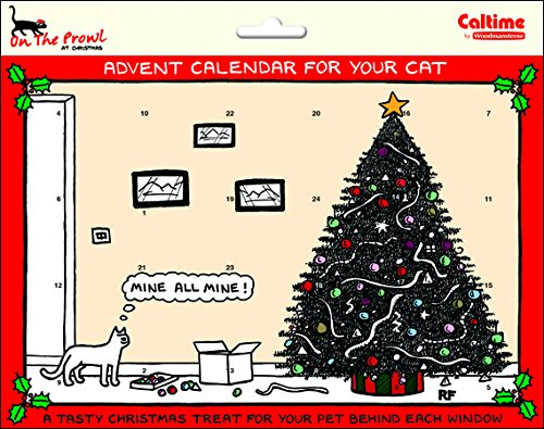 Rupert Fawcett - On the Prowl at Christmas PET Cat Xmas Countdown Advent Calendar with treats behind Every Door - Mine all mine - 247 x 194 Woodmansterne