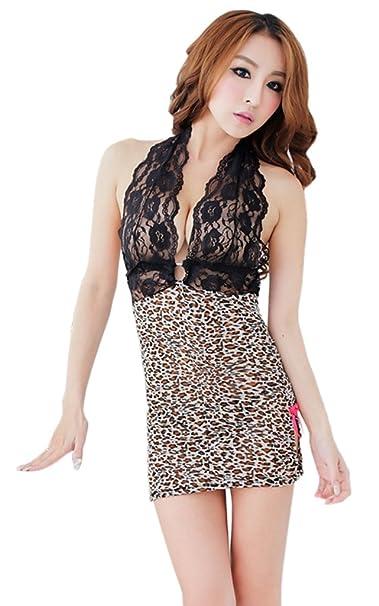 Bigood Sujetador Mujer Leopardo Escotado por Detrás Escote V Negro: Amazon.es: Ropa y accesorios