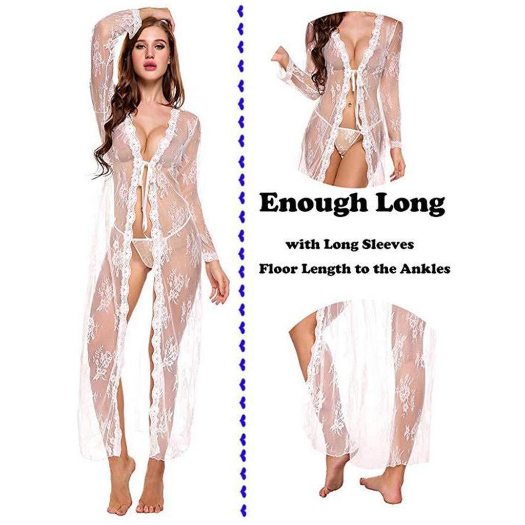 Karoleda Lingerie Women Sexy Long Lace Dress Sheer Gown See Through Kimono Robe White by Karoleda_Underwear (Image #2)