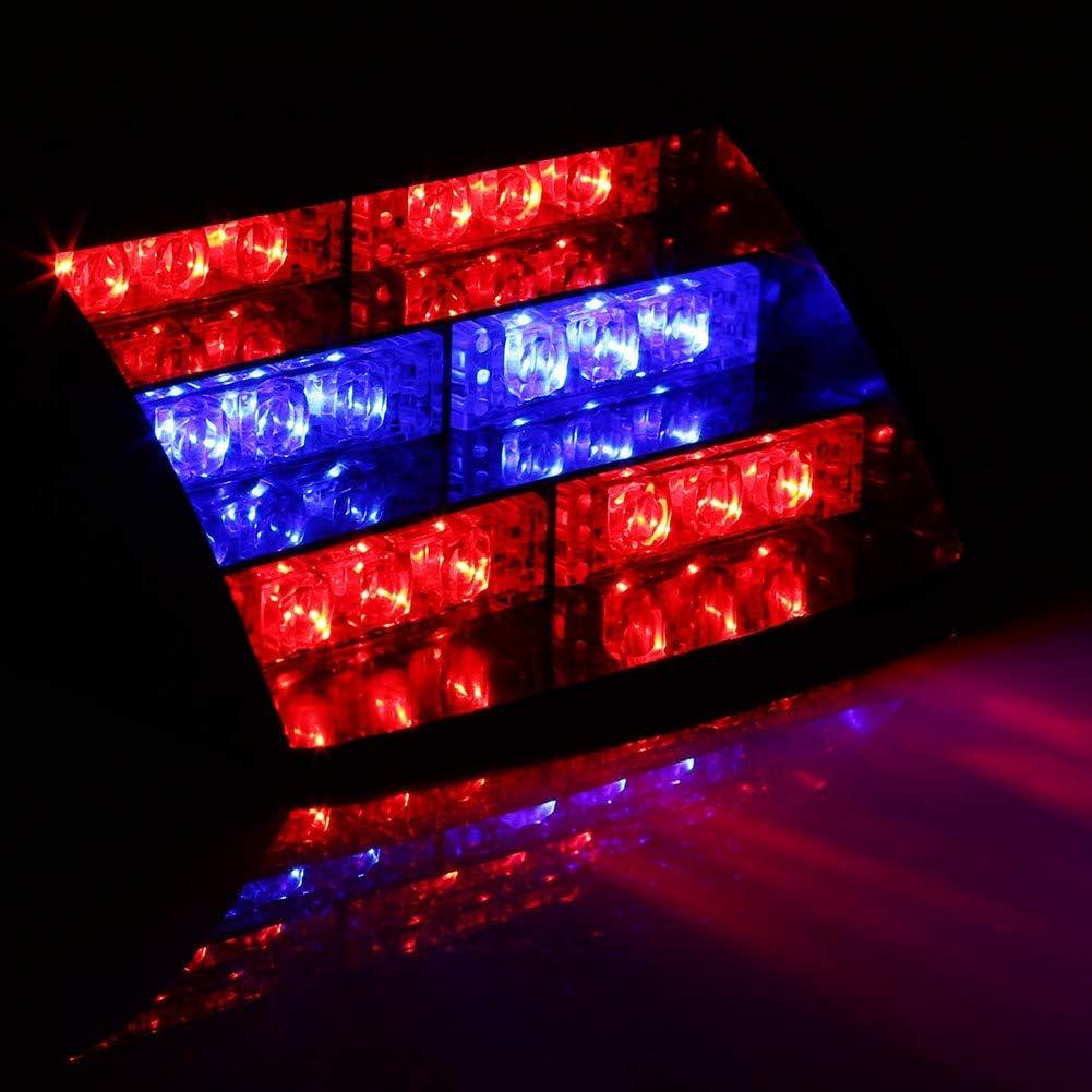 12V 18LED Car Strobe Warning Light Lamp Automobile Highlight Emergency Dash Emergency 3 Flash Lights Red and Blue