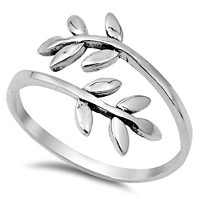 amazon leaf ring 925 sterling silver bypass wrap petite dainty Leaf Wreath image unavailable