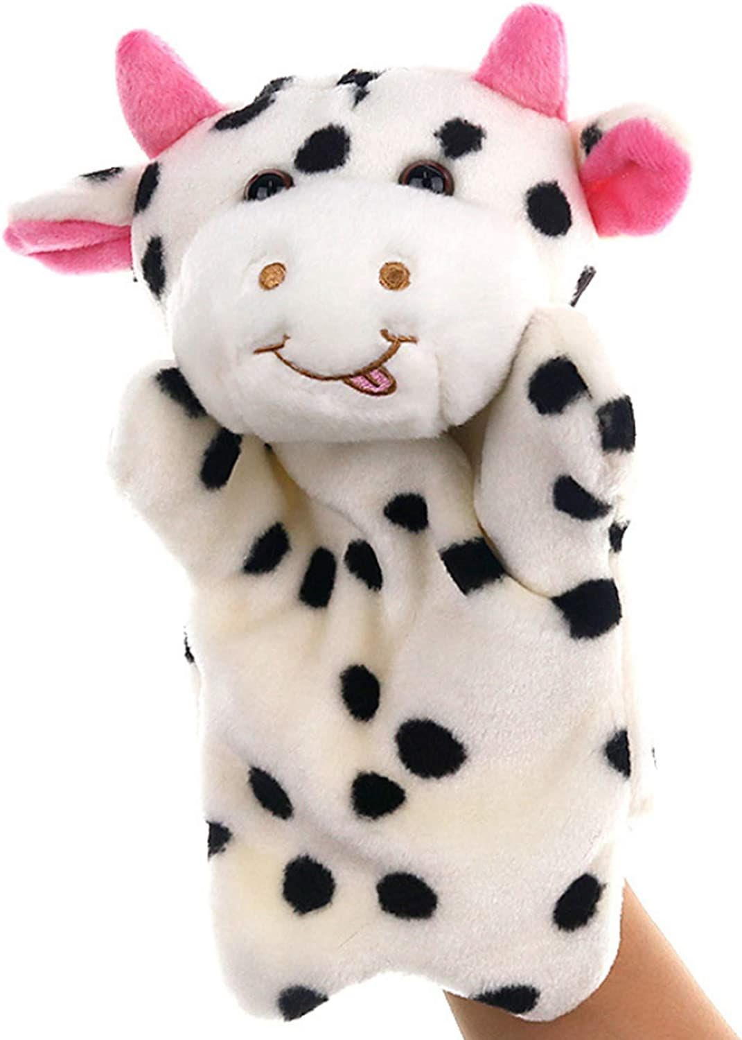 SweetGifts Milk Cow Hand Puppets Plush Animal Toys for Imaginative Pretend Play Stocking Storytelling