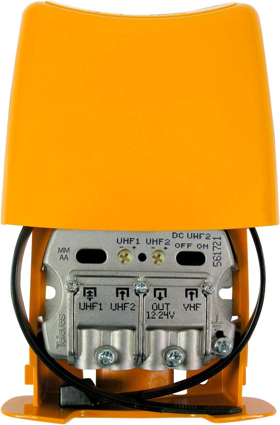 Televes Amplificador Mastil 28db 3e UHF-UHF-vhfmix Lte790 Nanokom 561721. Filtrado para LTE2 5G. Mezcla de Antena parabolica usando Fuente 5796.