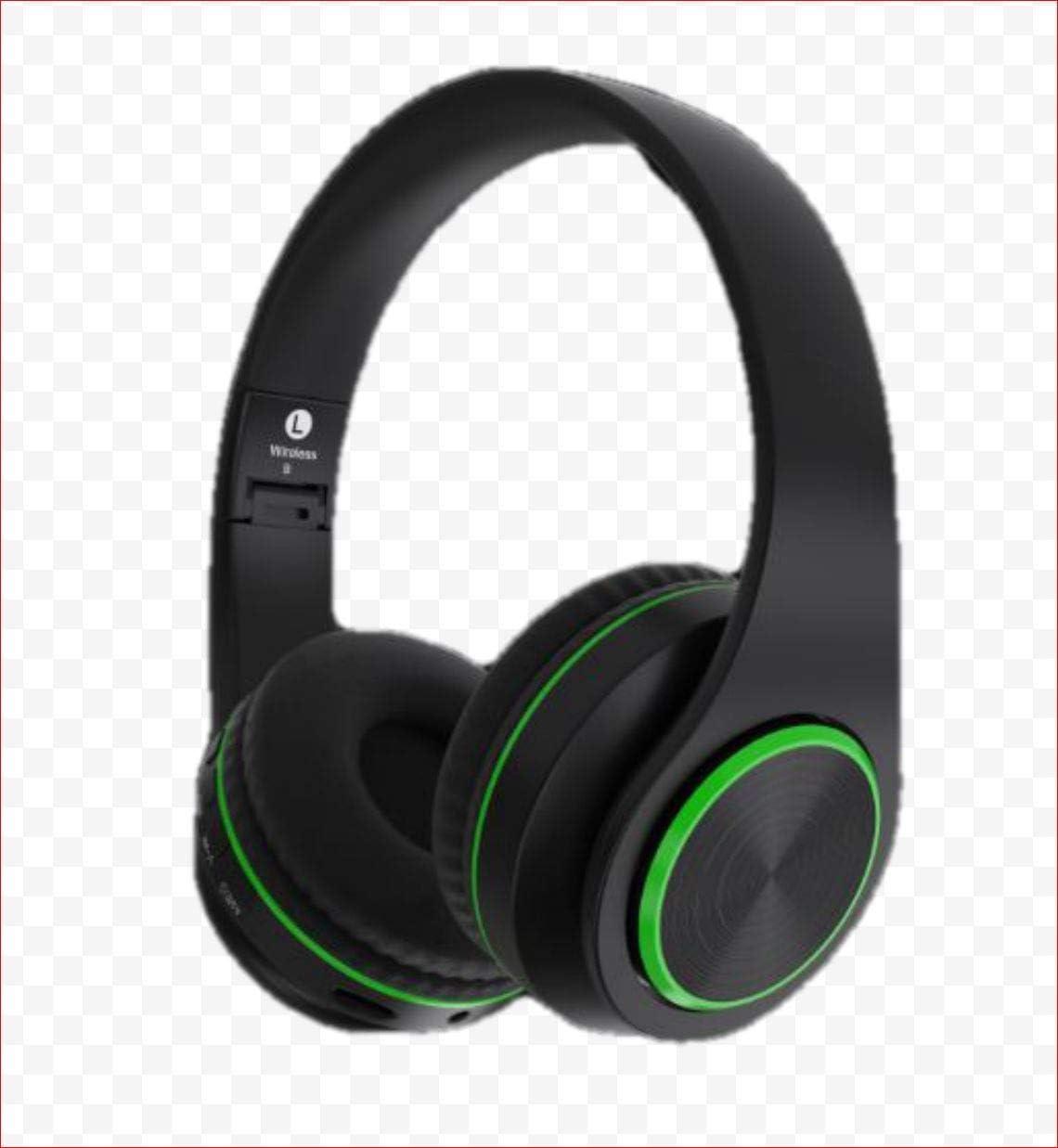 Bluetooth On-Ear Headphones. Black with Green Trim