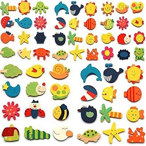 AUCH 48pcs Assorted Color Wooden Magnetic Fun Bright Colorful Preschool Toddler Toy Color and Shapes Learning Refrigerator Magnets Fridge Stickers (Magnet Toys For Fridge compare prices)