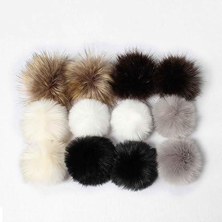 5a23da764e2 Cooljun DIY 12pcs Faux Fox Fur Fluffy Pompom Ball for Knitting Hat Hats  (Black)  Amazon.co.uk  Kitchen   Home