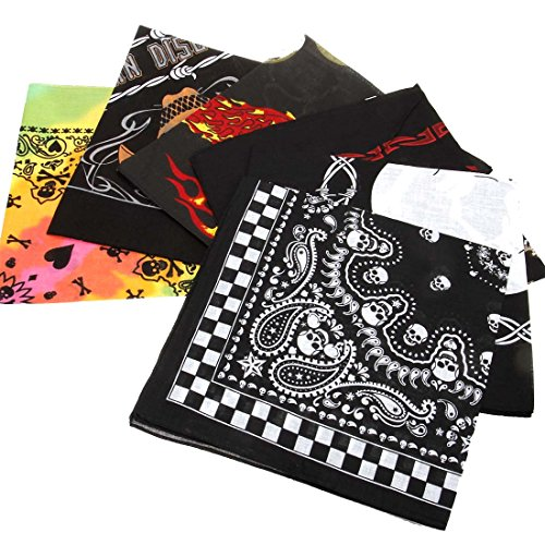 BMC 6pc Skull Theme Mix Color Cotton Fabric Extra Large 21 Inch Square -