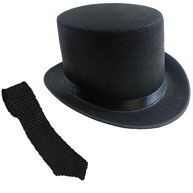 b9265a3c0f9ce Gentleman s Felt 5 Inch Top Hat With Black Sequin NeckTie Funny Party Hats