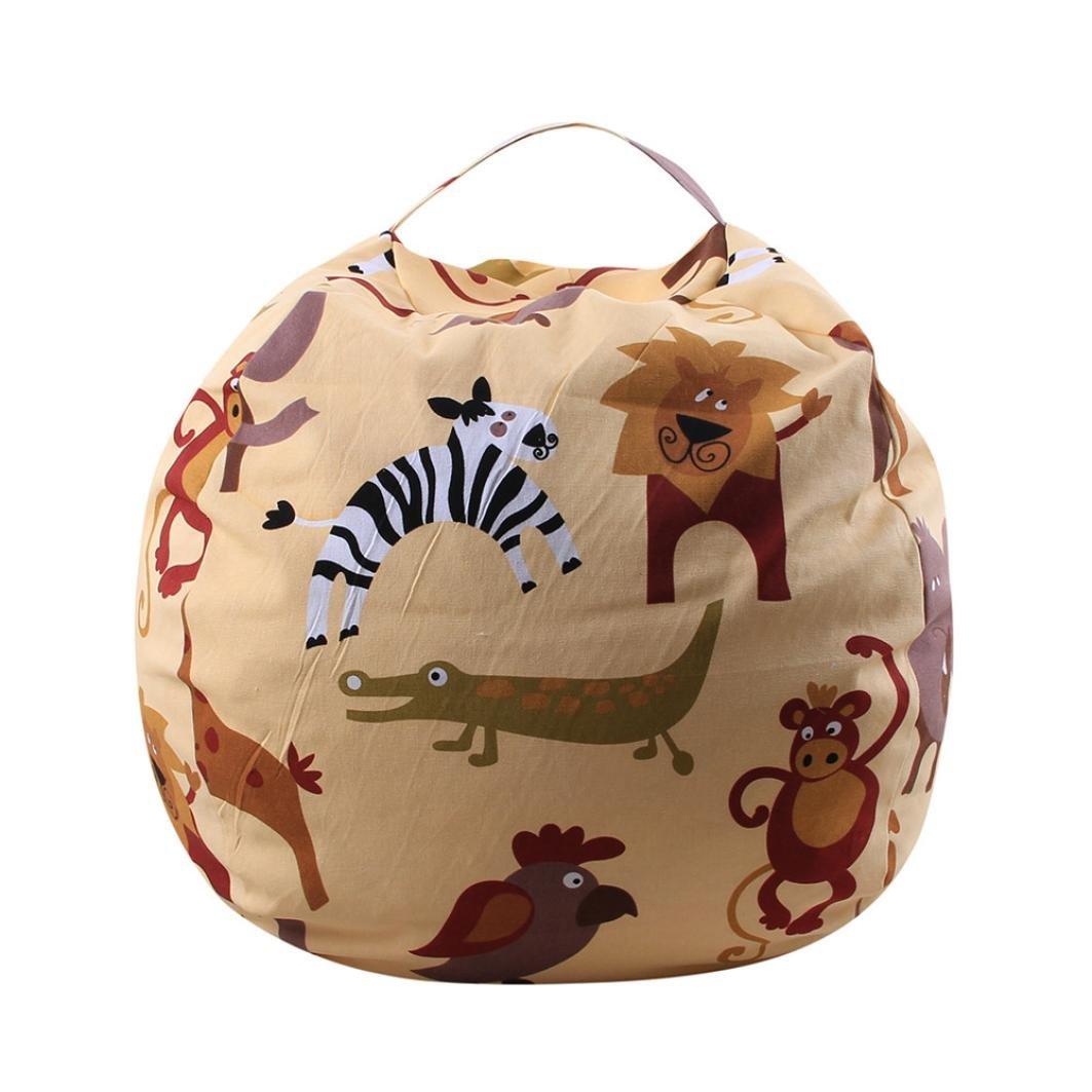 B TAOtTAO Kids Stuffed Animal Plush Toy Storage Bean Bag Soft Pouch Stripe Fabric Chair
