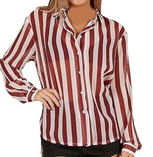 Mujeres Blusa Moda Solapa Camisetas de Manga Larga Shirts Tops Rayas Camisas Blouses tee,Primavera