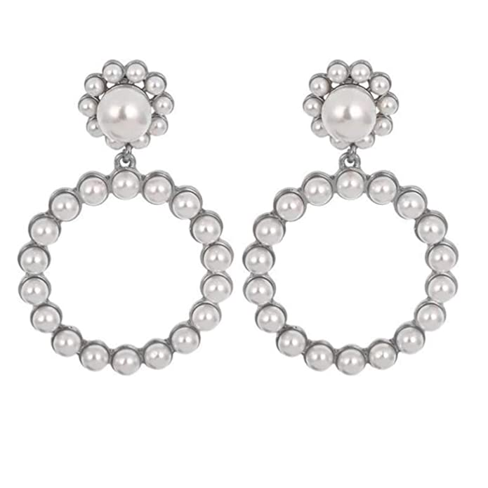 1960s Jewelry Styles and Trends to Wear SERAKI Fashion Women Pearl Crystal Large Hoop Circle Lady Luxury Drop Dangle Earrings Jewelry $9.99 AT vintagedancer.com