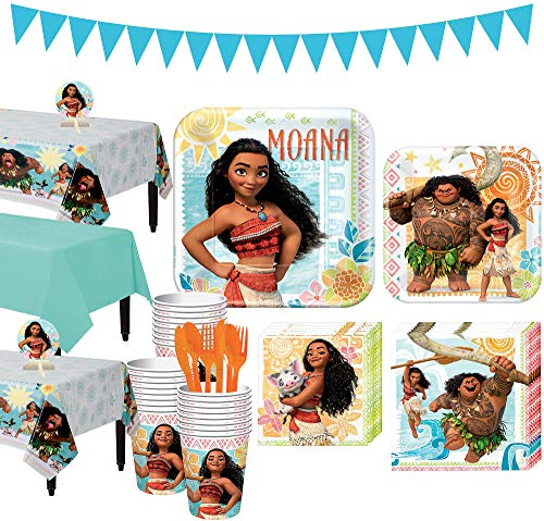 Party City Moana Tableware Party Kit and Supplies for 24 Guests, Includes Table Covers, Table Centerpieces, Banner -