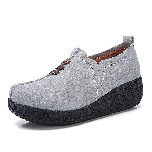 Zapatos Mocasines Plataforma Mujer Casual Moda Loafers Zapatos De Cuña Corriendo Tacón Oculto Viajar Botas Negro Marrón Rojo Gris Azul Oscuro 35-43: ...