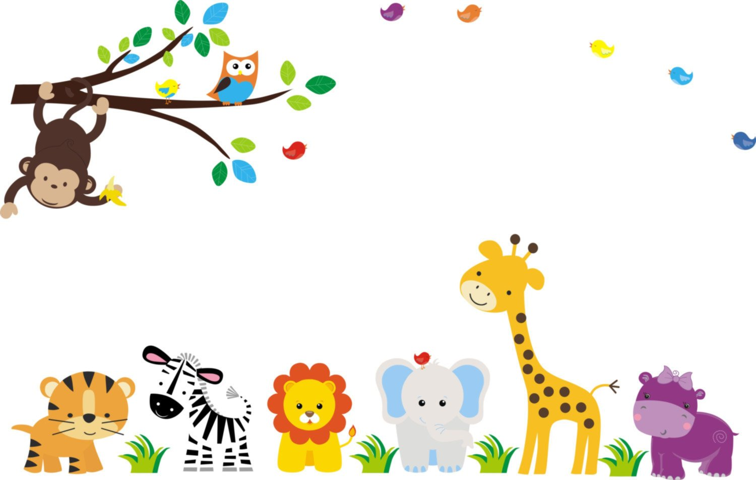 Baby Nursery Wall Decals Safari Jungle Children's Themed 83'' X 156'' (Inches) Animals Wildlife: Repositionable Removable Reusable Wall Art: Better than vinyl wall decals: Superior Material